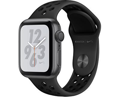 Watch Series 4 Nike+ 40mm vesmírně šedý hliník s antracitovým/černým Nike sportovním řemínkem