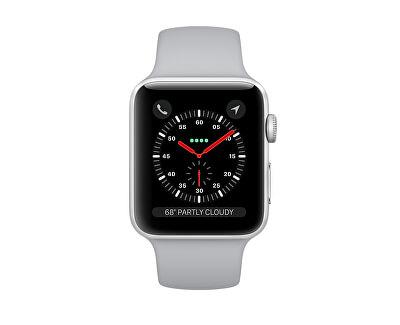 Apple Watch Series 3 38mm stříbrný hliník s mlhově šedým sportovním řemínkem