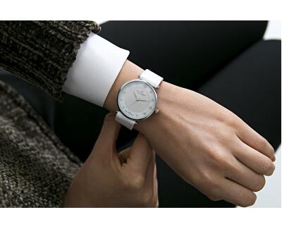 Silver Jungfrau Lychee White Leather FBR-B013S