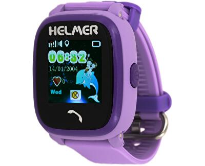 Chytré dotykové vodotěsné hodinky s GPS lokátorem LK 704 fialové - SLEVA II.