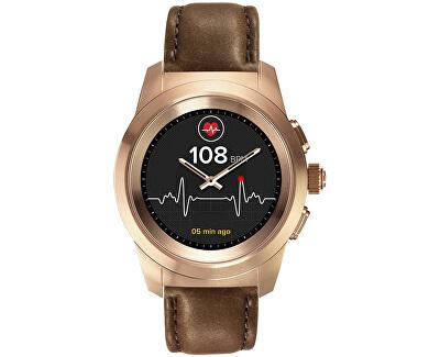 Hybridné hodinky ZeTime Premium Pink Gold/Brown - 44 mm