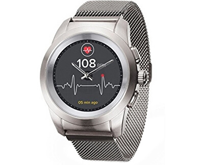 Hybridní hodinky ZeTime Elite Brushed Silver Milan - 44 mm