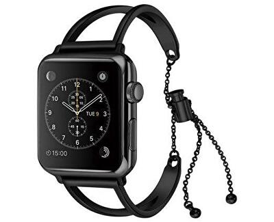 Nastavitelný ocelový tah pro Apple Watch - Černý 42/44 mm