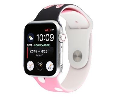 Silikonový řemínek pro Apple Watch - Růžovo-černý Disney 42/44 mm