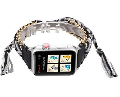 Textilní řemínek pro Apple Watch - Černo-bílý 42/44 mm