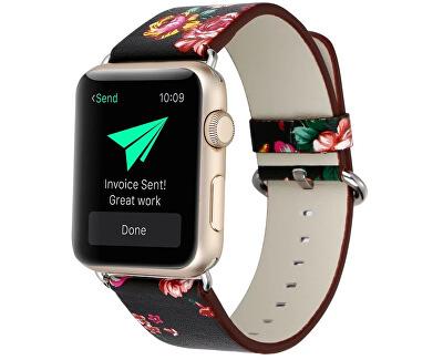 Kožený řemínek pro Apple Watch s motivem květin 38/40 mm