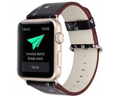 Kožený řemínek pro Apple Watch s motivem květin - Černý 38/40 mm