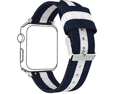 NATO řemínek pro Apple Watch - Modrá/Bílá 42/44 mm