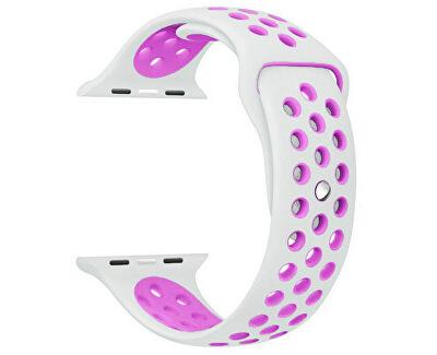Szilikon óraszíj Apple Watch karórához - fehér/levendula 38/40 mm