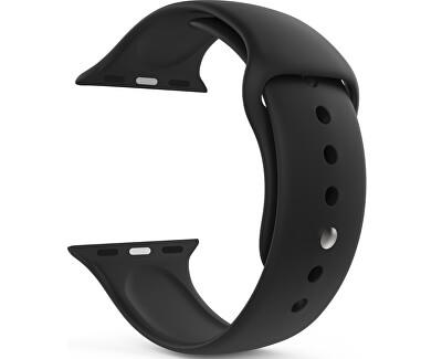Silikonový řemínek pro Apple Watch - Černý 42/44 mm - M/L