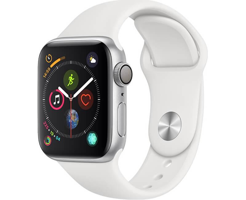 Apple Watch Series 4 40mm stříbrný hliník s bílým sportovním řemínkem  Novinka a132ec597d