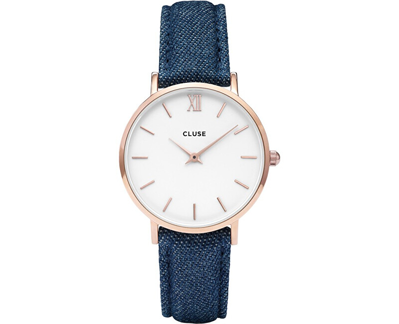 Cluse Minuit Rose Gold White/Blue Denim CL30029