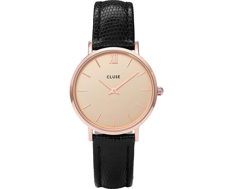 Cluse Minuit Rose Gold Champagne/Black Lizard CL30051