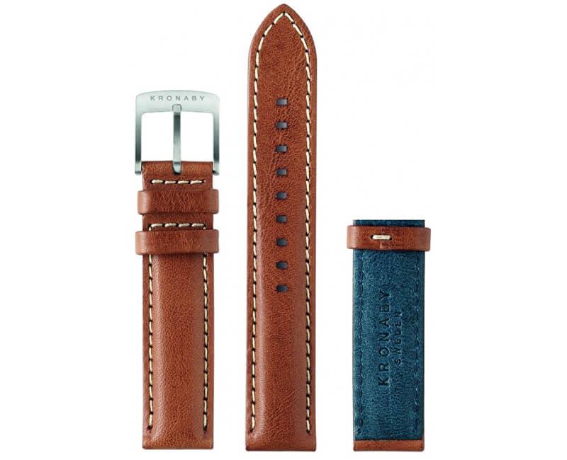 Kronaby Řemínek hnědý/modrý 18 mm A1000-0569