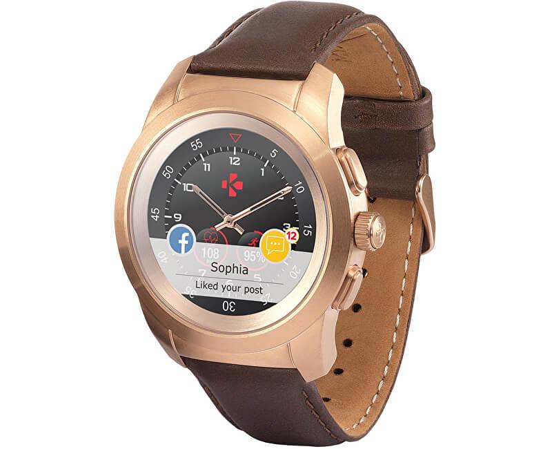 MyKronoz Hybridní hodinky ZeTime Premium Pink Gold Brown - 44 mm ... 6d90eb77c1f