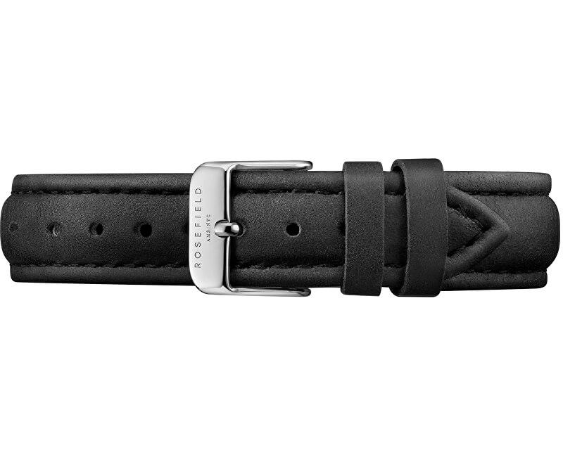 Rosefield Tribeca stitched black strap silver