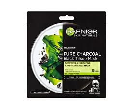 Černá textilní maska s extraktem zmořských řas Pure Charcoal Skin Naturals (Black Tissue Mask) 28 g