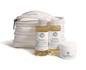 Cestovní sada BIO produktů z extra panenského olivového oleje v miniaturním balení