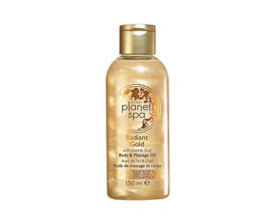 Rozjasňující třpytivý tělový a masážní olej se zlatými částečkami a olejem z agarového dřeva Planet Spa (Body & Massage Oil) 150 ml