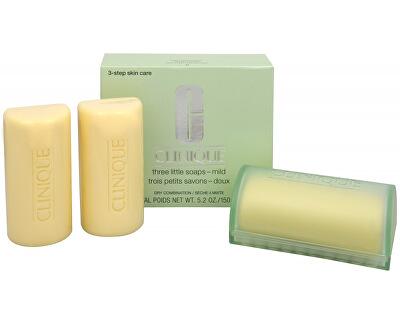 Clinique Čisticí mýdlo na obličej pro suchou až smíšenou pleť 3 ks (Three Little Soaps Mild) 3 x 50 g