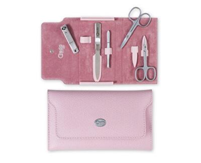 Credo Solingen Luxusní 5 dílná manikúra v růžovém koženém pouzdře Palmelato Rose 5