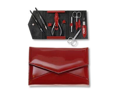 Luxusní 7 dílná manikúra v červeném koženkovém pouzdře Fire 7 - SLEVA - poškozená krabička