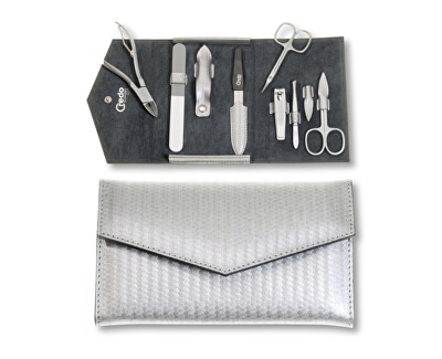 Luxusní 7dílná manikúra ve stříbrném pouzdře Carbon 7 - SLEVA - poškozená krabička