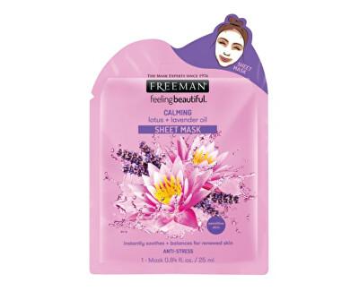 Zklidňující látková maska Lotos a levandulový olej (Calming Sheet Mask) 25 ml
