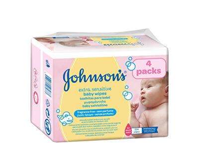 JOHNSON`S Baby Extra jemné vlhčené ubrousky Baby Extra Sensitive 4 x 56 ks
