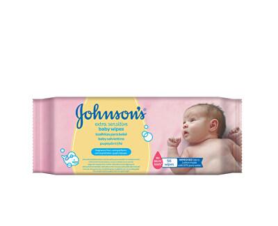 JOHNSON`S Baby Extra jemné vlhčené ubrousky Baby Wipes Extra Sensitive 56 ks