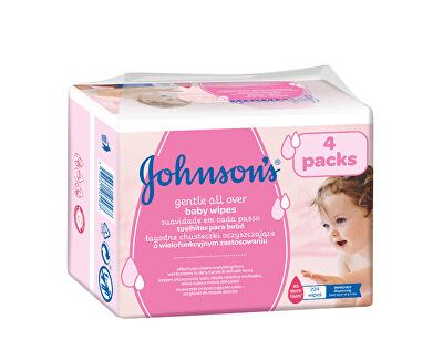 JOHNSON`S Baby Vlhčené ubrousky Baby Gentle Cleansing 4 x 56 ks