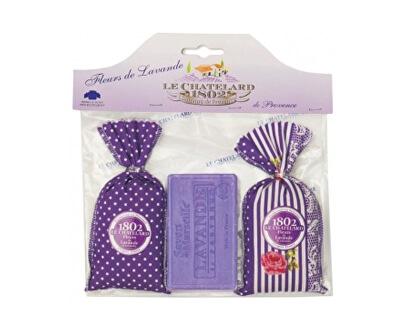 Le Chatelard Dárková sada Látkový pytlíček se sušenou levandulí 2 x 18 g + levandulové mýdlo 100 g