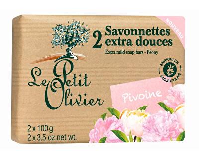 Le Petit Olivier Extra jemné mýdlo Pivoňka 2 x 100 g