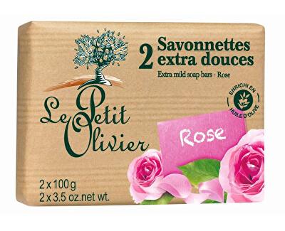 Le Petit Olivier Extra jemné mýdlo Růže 2 x 100 g