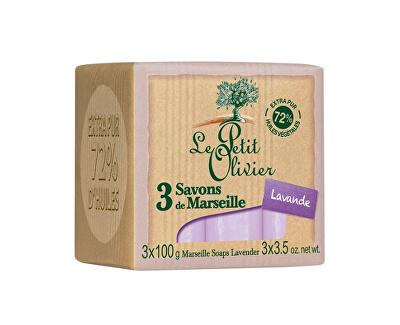 Le Petit Olivier Marseillské mýdlo Levandule (Marseille Soaps) 3 x 100 g