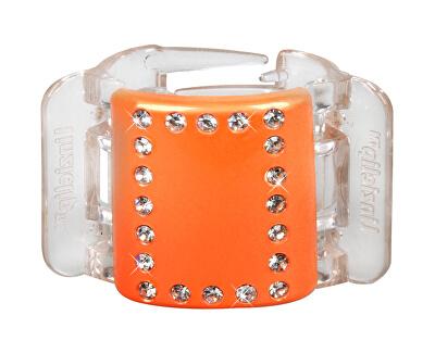 Linziclip Střední skřipec MIDI - oranžový s krystalky