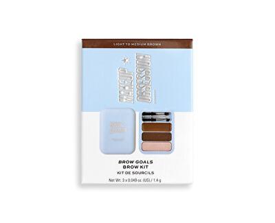 Sada na úpravu obočí Makeup Obsession (Brow Goals Kit Light To Medium Brow) 4,2 g