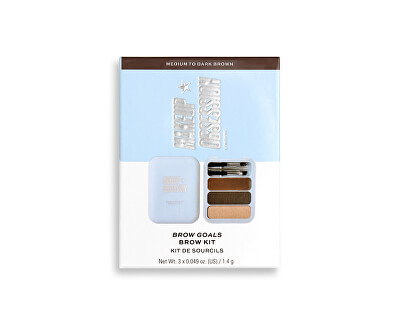 Sada na úpravu obočí Makeup Obsession (Brow Goals Kit Medium To Dark Brown) 4,2 g
