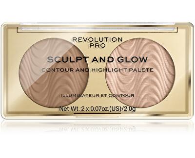 Konturovací paletka Sculpt and Glow Desert Sky PRO (Contour And Highlight Palete) 4 g