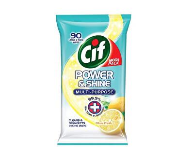 Antibakeriální ubrousky na povrchy CIF Power & Shine Citrus 90 ks