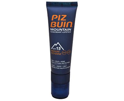 Piz Buin Sluneční krém SPF 15 a ochranný balzám na rty SPF 30 2 v 1 (Mountain Combi