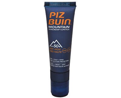 Piz Buin Sluneční krém SPF 50+ a ochranný balzám na rty SPF 30 2 v 1 (Mountain Combi