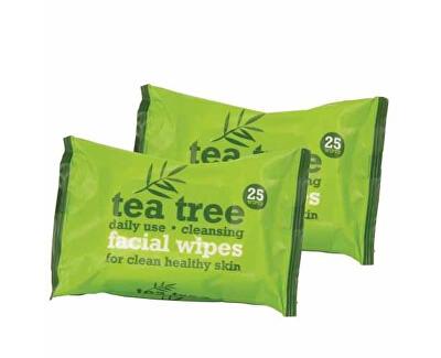 Čisticí ubrousky Tea Tree (Facial Wipes) 2x25 ks - SLEVA - chybí jedno balení