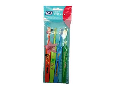 Extra jemný dětský zubní kartáček Kids ZOO (Extra Soft) 4 ks