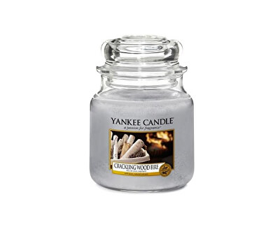 Yankee Candle Aromatická sviečka Classic strednej Crackling Wood Fire 411 g