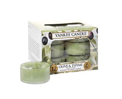 Yankee Candle Aromatické čajové sviečky Olivy a tymián (Olive & Thyme) 12 x 9,8 g