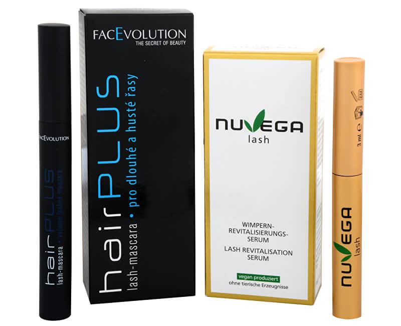 FacEvolution Dárkový balíček Veganské růstové sérum pro řasy a obočí (Nuvega Lash) 3 ml + Objemová řasenka Hairplus 6 ml