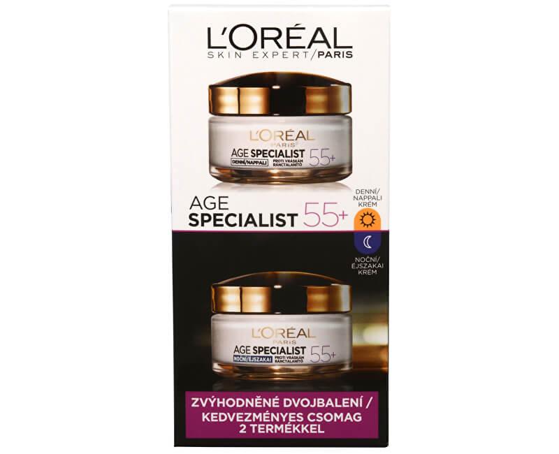 L`Oréal Paris Sada denního a nočního krému proti vráskám Age Specialist 55+ 2 x 50 ml