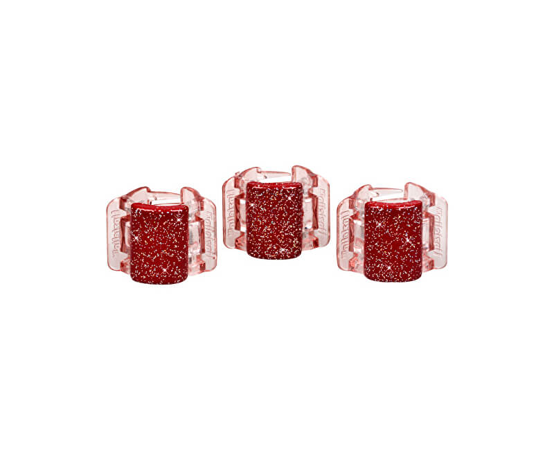 Linziclip Malý skřipec MINI 3 ks - perleťově vínový se třpytkami