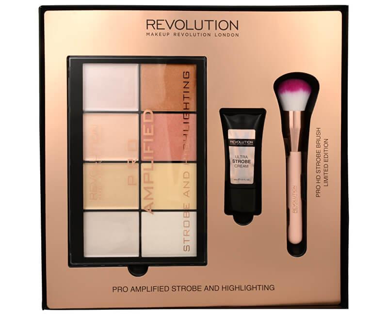 Makeup Revolution Dárková sada na rozjasnění obličeje Amplified Strobe & Highlighting